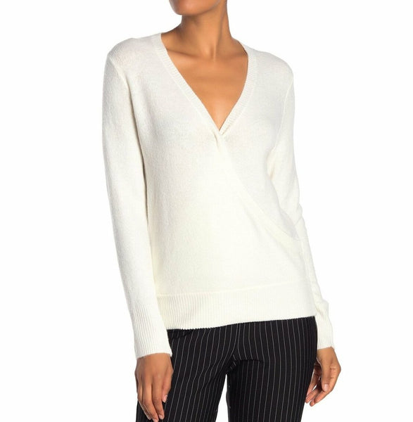 Vince Camuto Women Surplice Neck Wrap Sweater - Size Medium - White