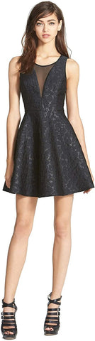 ASTR Women's Jacquard Fit & Flare Dress - Size Medium, Black