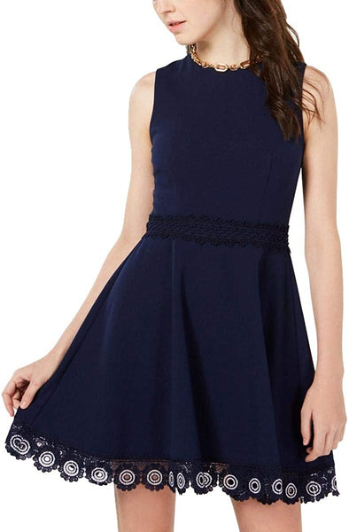 B. Darlin Women Juniors Fit & Flare Mini Skater Dress, Navy, 5-6