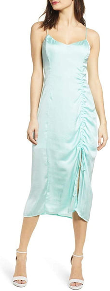 Leith Women's Ruched Detail Satin Slipdress, Size Small - Blue/Green