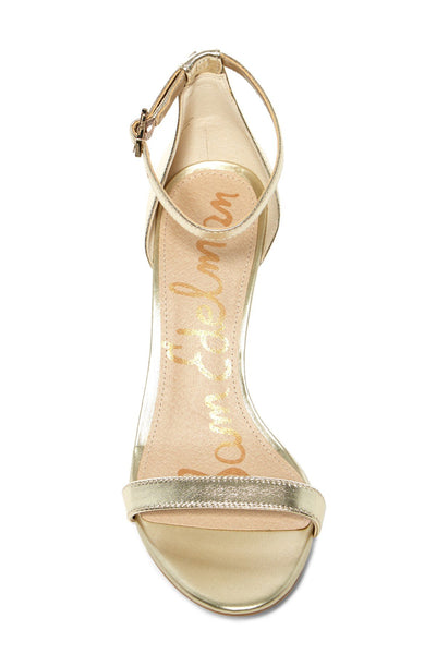 Sam Edelman Patti Metallic Ankle Strap Pump, Size 9.5, Light Gold