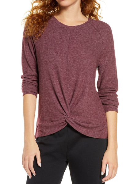 Socialite Women's Twist Front Brushed Hacci Sweatshirt - Size Small - Wine