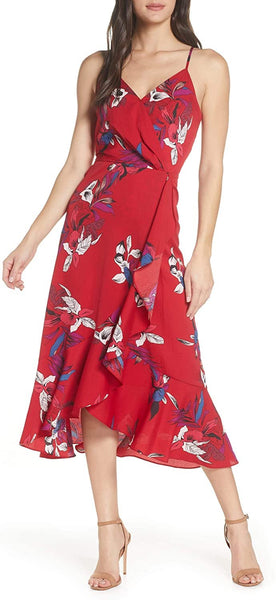CHELSEA28 Women's Faux Wrap Floral Midi Dress, Size Large - Red