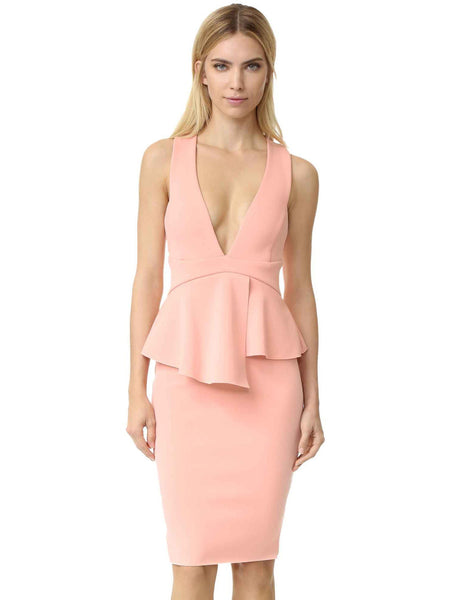 Bec & Bridge Womens Evening Dress Peplum Split Neck