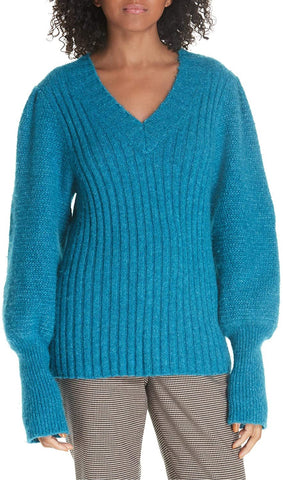 Rebecca Taylor Women's Lofty Alpaca Wool Blend Sweater, Size X-Large - Blue/Green