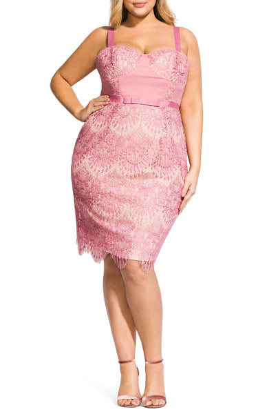 City Chic Plus Size Women Jolie Scallop Lace Sheath Dress, Size 18 - Pink