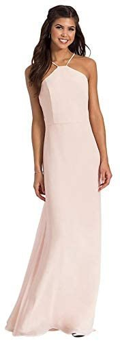 Hayley Paige Chiffon Bridesmaid Formal Evening Gown Dress - Size 10, Pink
