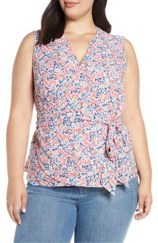 1.state Plus Size Women's Sunwashed Floral Wrap Top - Size 2X | Orange