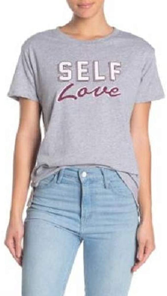 PST By Project Social T Self Love Graphic Women's Tee | Size - Small | Heather Grey