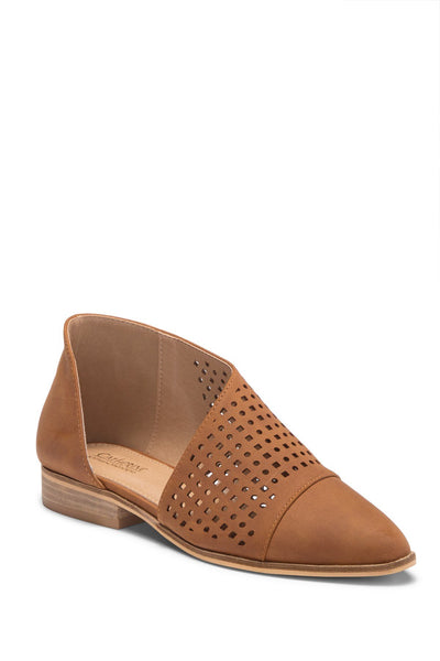 CATHERINE CATHERINE MALANDRINO Roffee Perforated D'Orsay Flat, Size 6, Color - Cognac