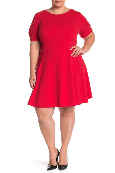 Eliza J Puff Sleeve Fit & Flare Dress Size 20W, Red