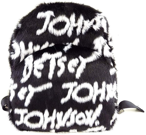 Betsey Johnson Black and White Faux Fur Signature Backpack