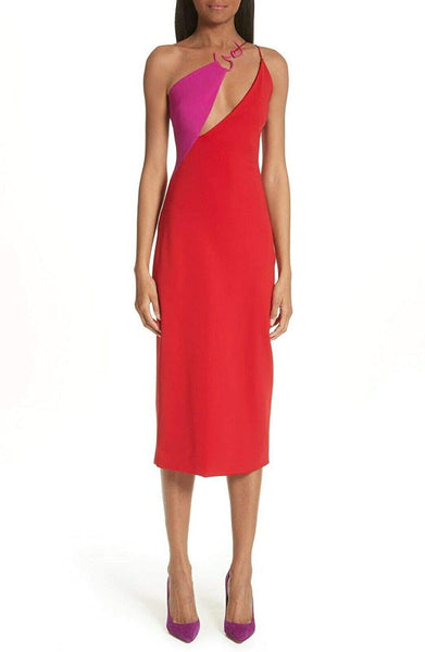 Cushnie et Ochs Women Poppy Demi Twisted Neckline Dress, Red Purple, 10