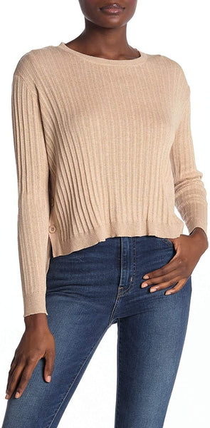 CottonEmporium Women's Side Button Crew Neck Sweater | Size - X-Large | Oatmeal