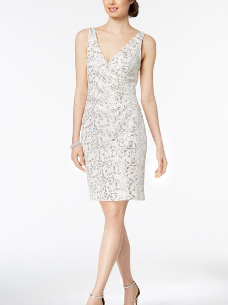 Vince Camuto Women's Sequined Lace Surplice Dress - Size 6 - Ivory