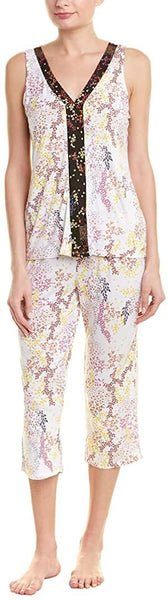 Tahari Women's Daydream Floral Sleeveless V Neck Capri Set T10021