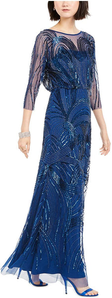 Adrianna Papell Women Sequined Neckline Full Doll Evening Dress | Size 6 |Navy