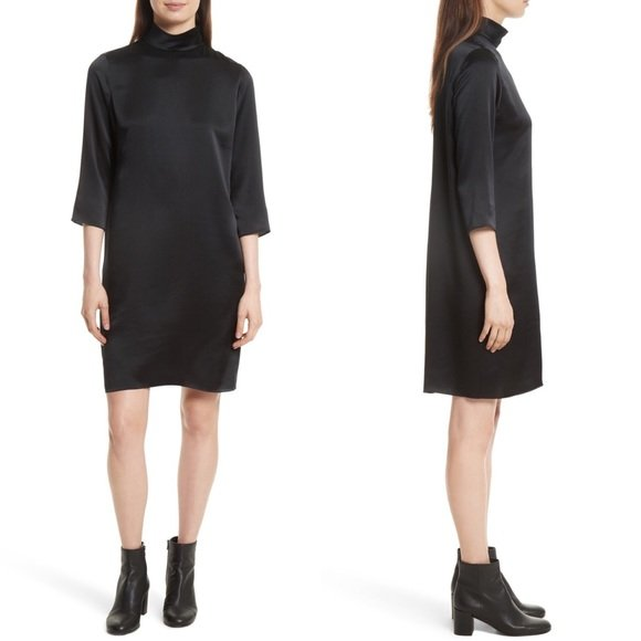 Vince Satin Mock Neck Shift Dress Large Black
