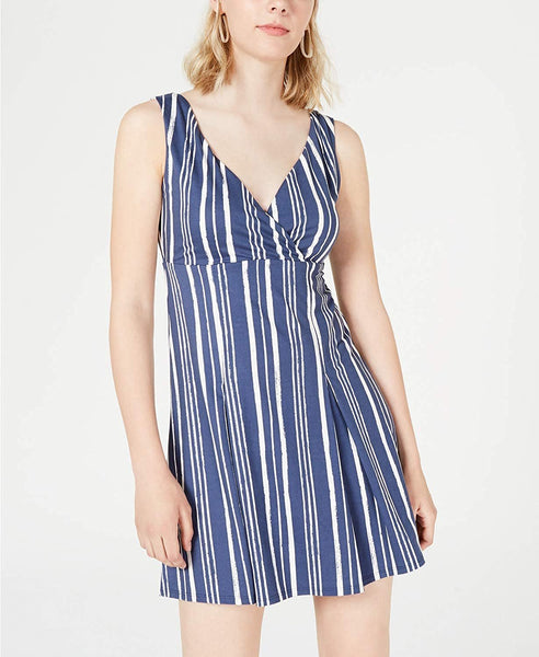City Studio Womens Striped Surplice Wrap Dress