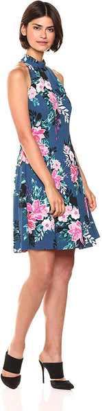 Plus Size Women's Vince Camuto High Neck Floral Fit & Flare Dress, Size 16W - Bl