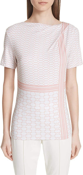 St. John Collection Women's Multilink Print Jersey Tee - Size Medium - Coral