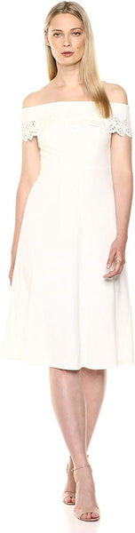 Calvin Klein Women's Folded Off The Shoulder A-line Midi Dress