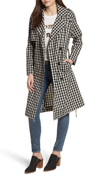 Ten Sixty Sherman Women's Gingham Trench Coat, Size Medium - Black