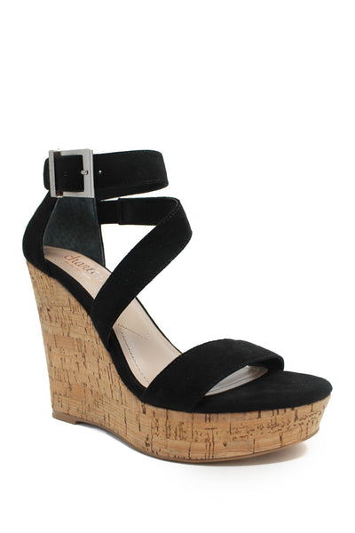 Charles By Charles David Amigo Cork Wedge Sandal, Black, 8