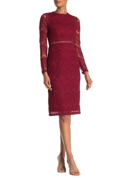 Love by Design Lace Long Sleeve Midi Dress, Size X-Large- Rhubarb