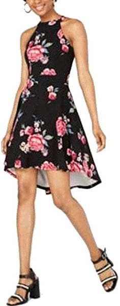 CRAVE FAME Juniors High-Low Fit & Flare Dress Navy Floral Size M