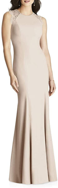 Dessy Collection Women's Lace Back Trumpet Gown, Size 12 - Beige