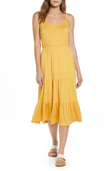 Gibson Women The Motherchic Sunset Tiered Knit Maxi Dress, Size Large, Yellow