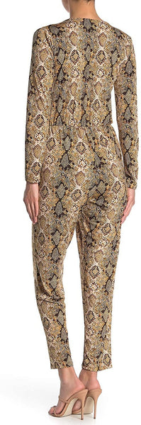 West Kei Snake Print Pocketed Jumpsuit - Size X-Large, Tan Raptle
