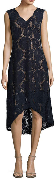 Tadashi Shoji High Low V-Neck Lace Cocktail Dress, Navy, 8