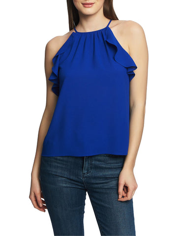 1.STATE Ruffle Trim Halter Top
