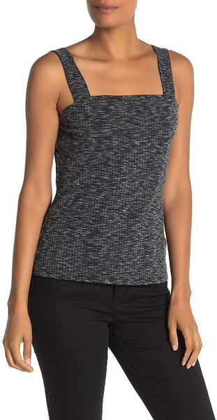 Bobeau Women's Ribbed Marl Tank Top - Size Medium | Black