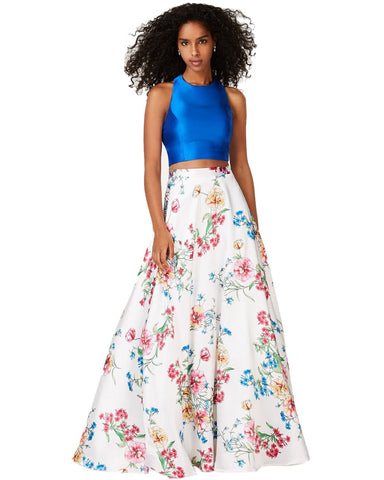 City Studios Juniors' 2 Pc Satin & Floral Print Gown