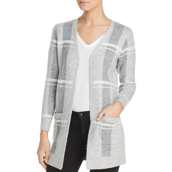 Heather B Metallic Plaid Open Cardigan