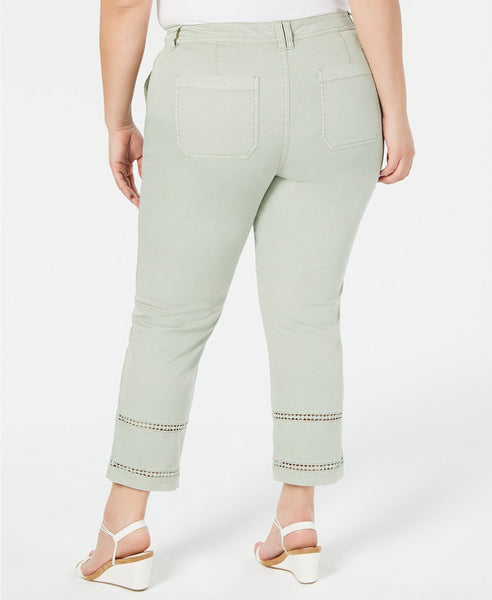 Style & Co. Womens Plus Twill Eyelet Capri Pants