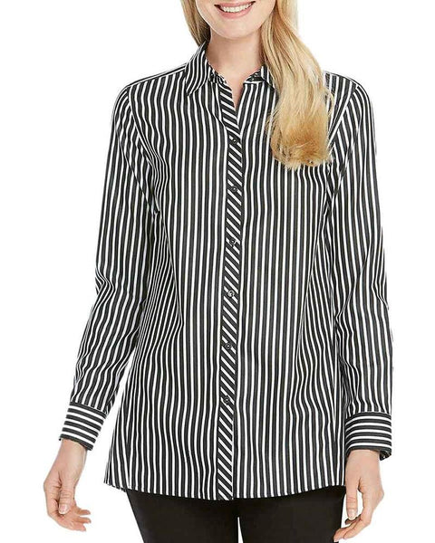 Foxcroft Womens Emilia Striped Button Down Non Iron Blouse Top