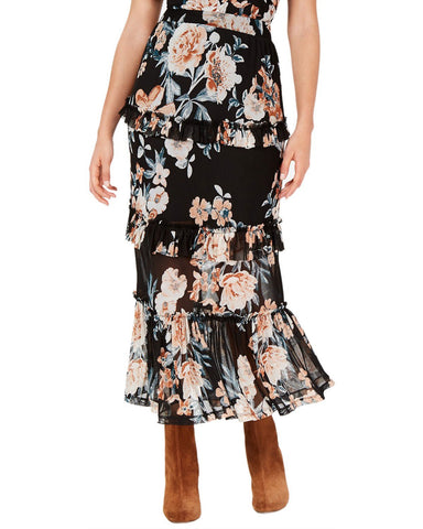 American Rag Juniors' Printed Tiered Ruffle Midi Skirt