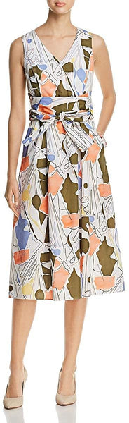 Lafayette 148 New York Women's Sleeveless Printed Midi Dress - Size Large, White