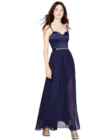 City Studios Juniors' Rhinestone Belted Chiffon Gown
