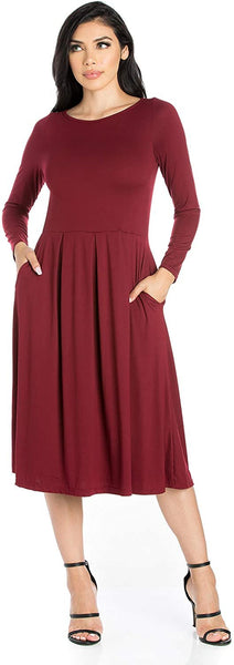 24seven Comfort Apparel Women's Clothes Long Sleeve Fit and Flare Midi Dress with Pockets - Made in USA - (Sizes S-1XL)