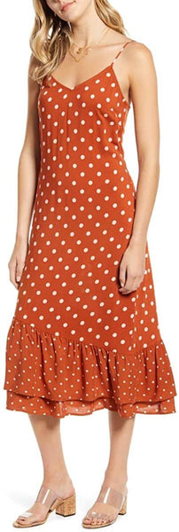 BP Women's Floral Sundress Polka Dot, Size Medium - Orange/Brown