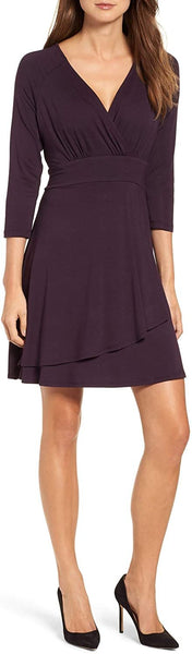 Karen Kane Women's Wrap Style Drape Front Dress, Size Medium - Purple