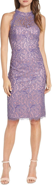 Eliza J Women's Petite Lace Halter Neck Sheath Dress, Purple, Size 12