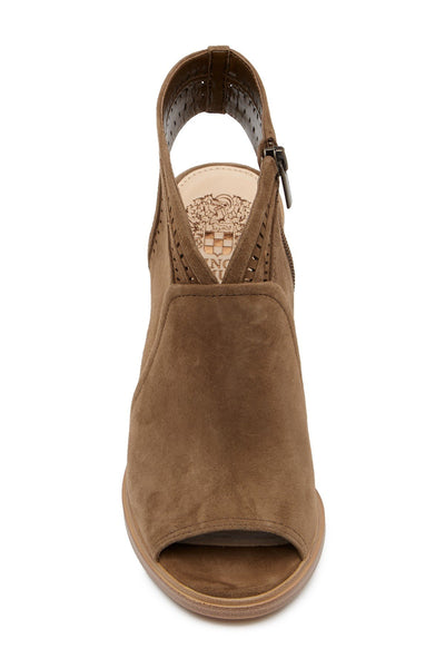 Vince Camuto Koral Heeled Peep Toe Suede Bootie, Size 8.5,  Medium Brown