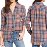 Rails Plaid Jerrah Navy Sunset Gold Cotton Button, Blue/Orange, X-Small