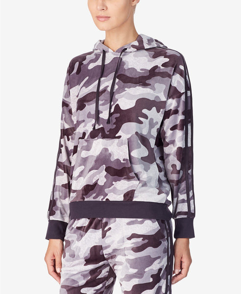 DKNY Women Pullover Lux Plush Hoodie | Size - Large | Color - Grey Print